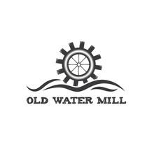 Old Water Mill Vintage Illustration