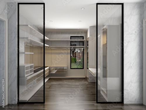 Fotografie, Obraz  3D render dressing room interior luxury style