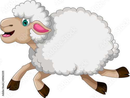 Fotobehang Boerderij funny sheep running cartoon