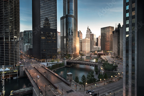 Foto op Canvas Chicago Chicago downtown dawn