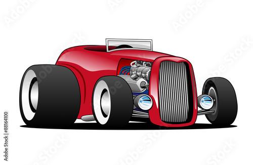Staande foto Cartoon cars Classic Street Rod Hi Boy Roadster Vector Illustration