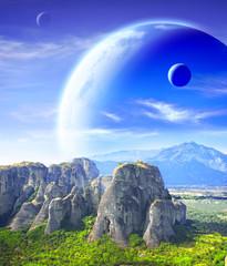 Fototapeta krajobraz - planety i góry