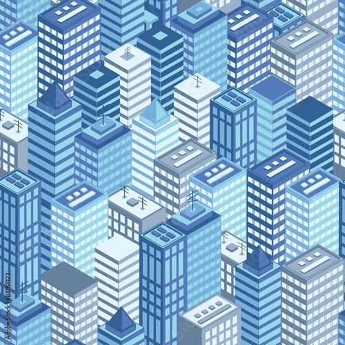 niebieskie-miasto-plaskie-izometryczny-wzor