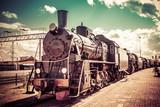 Old steam locomotive, vintage train. - 88169398