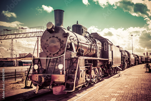 Old steam locomotive, vintage train. Canvas Print