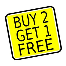 Buy 2 Get 1 Free Stamp Text On...