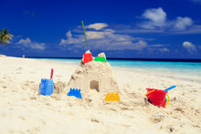 Sand Castle On Tropical Beach