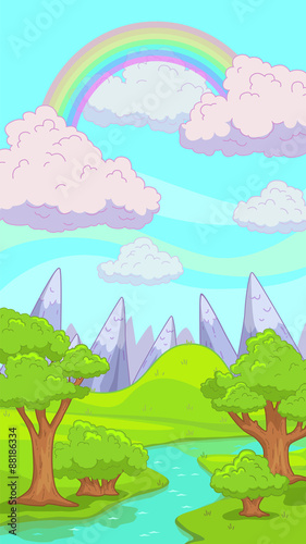 Poster Purper Cute cartoon nature landscape