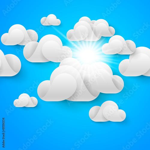 Foto op Plexiglas Hemel White clouds on blue sky