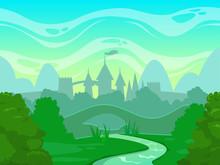 Seamless Cartoon Fantasy Morning Landscape