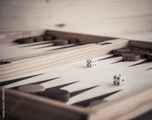 backgammon and dice Poster Mural XXL