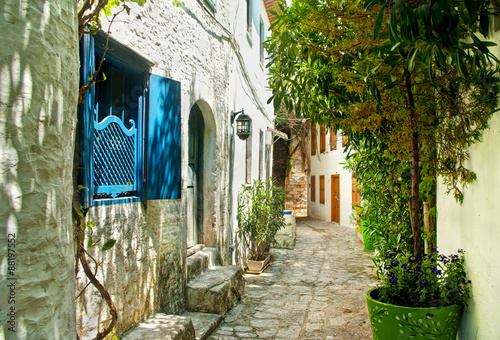 narrow street in old european town on sunny day - 88197552