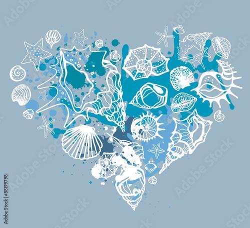 Heart of shells. Hand drawn