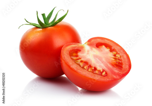 Fotografia, Obraz Red tomatoes with cut isolated on white
