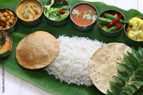 Meals Served On Banana Leaf Traditional South Indian Cuisine