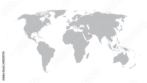 world map with indication of United Arab Emirates - Buy this stock ...