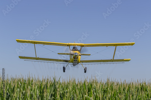 Yellow Crop Duster Wallpaper Mural