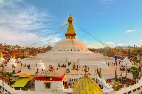 Fotografie, Obraz Sunset at the boudhanath stupa kathmandu nepal