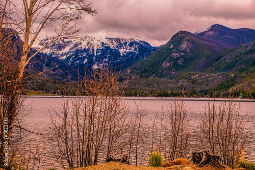 On the shore of a lake, peeking through trees, a snow capped mountain in the distance.
