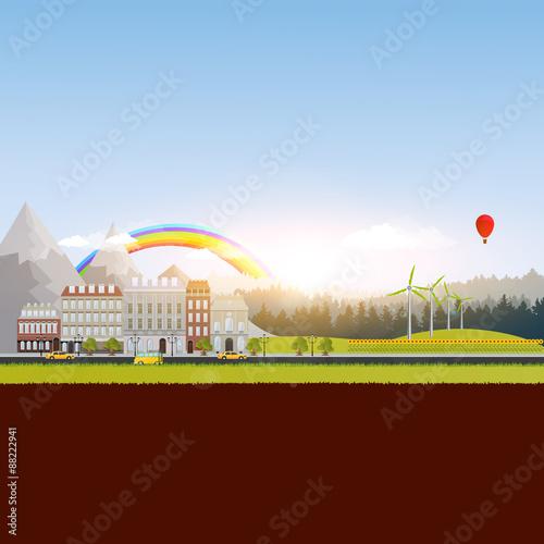 Foto op Plexiglas Bruin Eco Beautiful Landscape Vector illustration,City mountains and field.