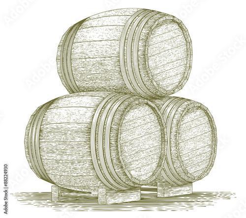 Woodcut Whiskey Barrel Stack