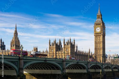 Fotografie, Obraz  Big Ben a Westminsterské opatství v Londýně, Anglie
