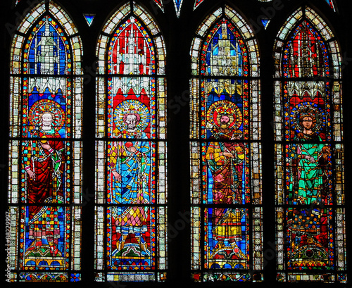 Stained Glass in Cathedral of Strasbourg, France Wallpaper Mural