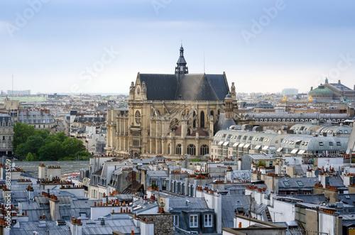 Fotomural Saint-Germain l'Auxerrois church with Paris Skyline
