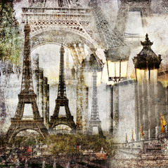 FototapetaDreams of Paris / Textured grunge paper background with Paris Eiffel Tower different profiles architecture vintage style