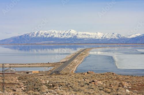 Causeway to Antelope Island, Utah
