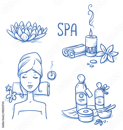 Icon item set wellness, spa, with relaxing woman, lotus flower, candle, cream and oil bottles, leafs and flowers. Hand drawn doodle vector illustration. #88254734