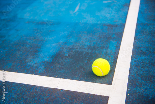 tennis ball on a tennis court Poster
