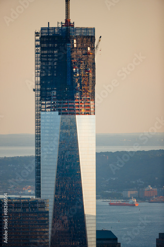One World Trade Center Tower nearing completion Canvas Print