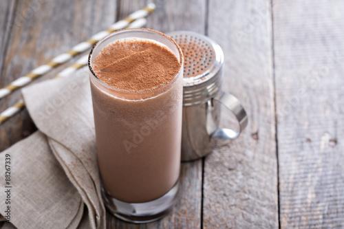 Foto op Canvas Milkshake Cold chocolate milkshake
