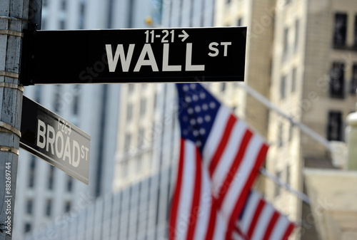 Obraz Wall Street road sign, Lower Manhattan, New York City - fototapety do salonu