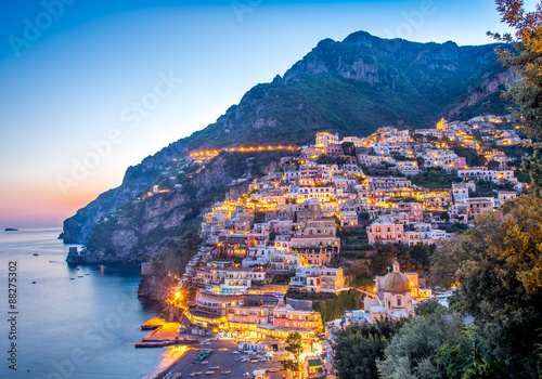 Sun set view of Positano village at Amalfi Coast, Italy.