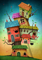 Panel Szklany Fantasy Illustration with unreal tree house for card