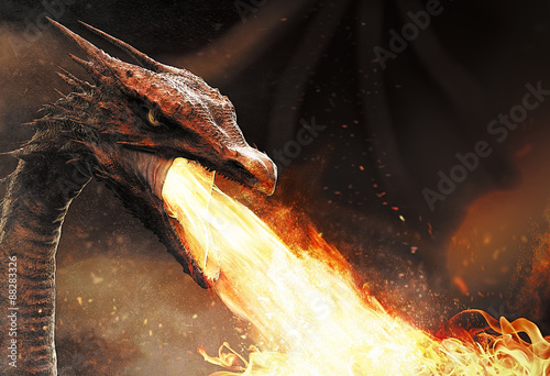 Plakat smok pluje ogniem