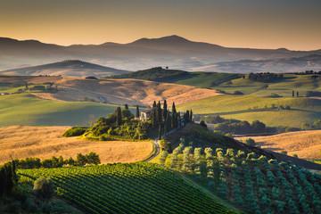Panel Szklany Podświetlane Toskania Scenic Tuscany landscape at sunrise, Val d'Orcia, Italy