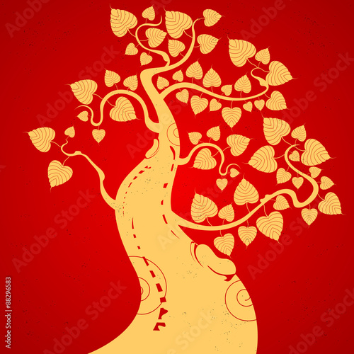 Poster Bloemen vrouw Bodhi tree on a red background