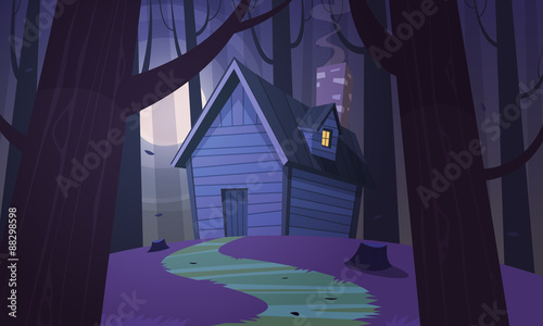 Foto op Plexiglas Violet Cabin in Woods - Night