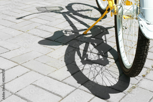 Fotobehang Fiets Bicycle over pavement background