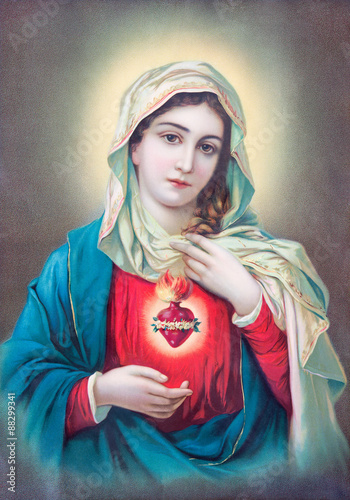 Photo  Typical catholic image of heart of Virgin Mary from Slovakia