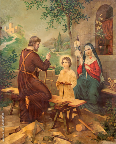 Fotografie, Obraz  Typical catholic image printed image of Holy Family