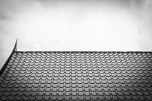 Temple Roof Texture In Black And White