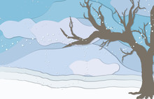 Tiny Flakes Of Snow Swirl In The Wind Over A Cloudy Blue Sky And A Bare Tree Stands To The Side In This Cup-paper Style Illustration.
