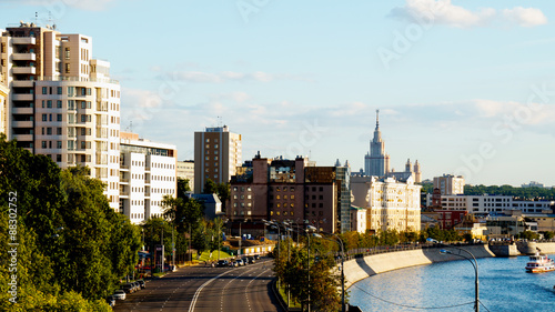 Fototapety, obrazy: Details of views of Moscow city shot in summer sunset