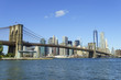 Brooklyn Bridge and Lower Manhattan skyscrapers including One World Trade Center, New York City, New York