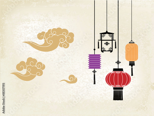 Chinese lantern and cloud Wallpaper Mural
