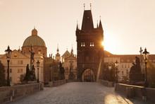 Old Town Bridge Tower And Charles Bridge At Sunrise, Prague, Bohemia, Czech Republic